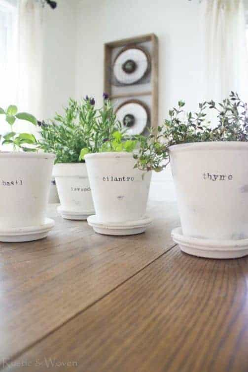 Cute Chalk Painted Pots From Rustic Woven